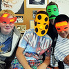 Freshmen Erik Woolley, left, Jeremy Vogt, Devon Cummings and Syrian Owen pose while wearing masks for their group during the freshman orientation day at Broomfield High School on Tuesday.<br /> <br /> August 18, 2009<br /> staff photo/David R. Jennings