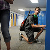 Freshman Jake Sigmand tries to open his locker while touring the school during Broomfield High School Freshman Orientation Day on Tuesday.<br /> <br /> August 18, 2009<br /> staff photo/David R. Jennings