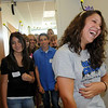 Group leader Kayla Baker, right, laughs as she prepares to give a tour of Broomfield High School during Freshman Orientation Day on Tuesday. <br /> <br /> August 18, 2009<br /> staff photo/David R. Jennings