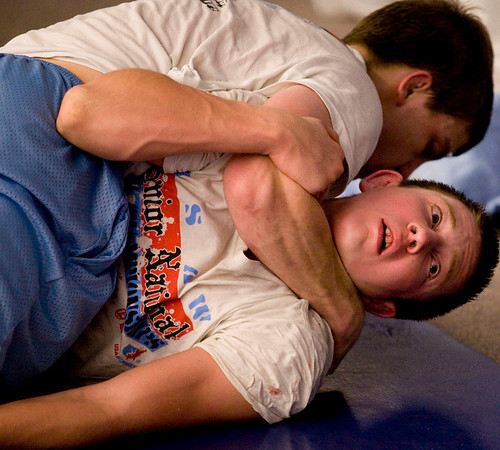 Jerry Huff and Nick Babcock wrestle during Broomfield High School wrestling practice on Monday. Photo by Matt Kelley/For the Enterprise.
