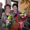 Carol Dankey and Charlene Orvis brought flowers for the Broomfield High School Sports Gala on Friday at the Church Ranch Events Center. <br /> March 18, 2011<br />  staff photo/David R. Jennings