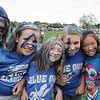Ten year old fans Jenna Burgersser, left, Olivia Belton, Melanie Long, Meghan Roylance, Jana Compesi and Sarah Rosenblum painted their faces to spell out Eagles at the tailgate party before Friday's game against Monarch.<br /> September 16, 2011<br /> staff photo/ David R. Jennings