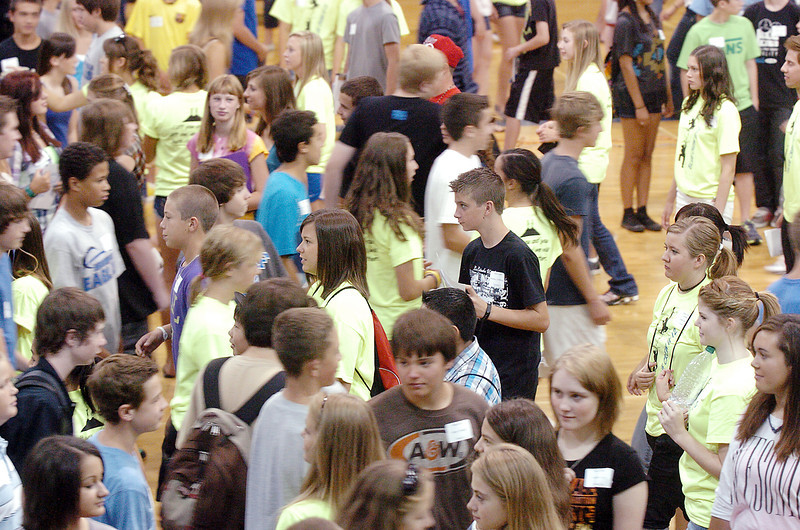 Freshman and Blue Crew leaders walk across the gym during freshman orientation at Broomfield High School on Monday.<br /> <br /> August 15, 2011<br /> staff photo/ David R. Jennings
