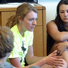 Blue Crew leader Kathryn Middel-Katzenmeyer, center, gives some advise to her freshman group in a classroom during freshman orientation at Broomfield High School on Monday.<br /> <br /> August 15, 2011<br /> staff photo/ David R. Jennings