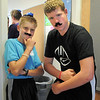 Freshmen Bryce Wilcox, left, and Blake Whitsell pose in their costumes for their Blue Crew group during orientation at Broomfield High School on Monday.<br /> <br /> August 15, 2011<br /> staff photo/ David R. Jennings