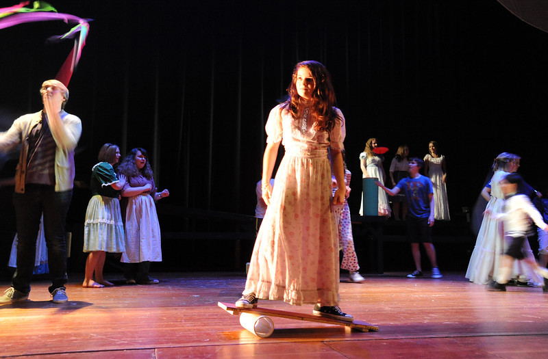 Kyra Chavez shows her act during rehearsal for Broomfield High's production of Carousel on Monday.<br /> <br /> <br /> April 9, 2012 <br /> staff photo/ David R. Jennings