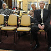 Bud Stoecker, right, waits to be called to the dance floor during the Broomfield High School's Future Business Leaders of America and Key Club Senior Citizen Prom at Highland Trails Retirement Homes on Saturday.<br /> <br /> April 11, 2010<br /> Staff photo/David R. Jennings