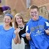 Freshmen Alayna Sohail, left, Alia Kaplan, Jeff Stark and Carissa Winter  pose for a picture at the tailgate party prior to the Broomfield vs. Legacy football game at Elizabeth Kennedy Stadium on Friday.<br /> September 7, 2012<br /> staff photo/ David R. Jennings