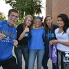 Freshmen Jeff Stark, left, Alia Kaplan, Alayna Sohail, Carissa Winter and Roberta Corral pose for a picture at the tailgate party prior to the Broomfield vs. Legacy football game at Elizabeth Kennedy Stadium on Friday.<br /> September 7, 2012<br /> staff photo/ David R. Jennings