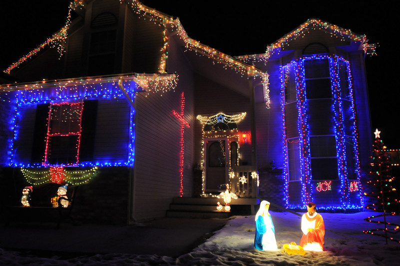 The holiday lighting display at 1221 Dover Court .<br /> <br /> December 13, 2009<br /> Staff photo/David R. Jennings