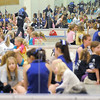 Broomfield Pom squad members get to know more than 100 participants of the Lil' Poms clinic as seen in the mirrors of the pom and cheerleader room at Broomfield High on Friday. <br /> February 10, 2011<br /> staff photo/David R. Jennings