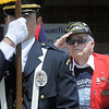Paul Murphy, a survivor of the sinking of the U.S.S. Indianapolis during World War II, salutes as the Broomfield Police Honor Guard posting of the colors at the Broomfield Veterans Memorial Museum Memorial Day Picnic at the Broomfield County Commons Park on Monday.<br /> May 30, 2011<br /> staff photo/David R. Jennings