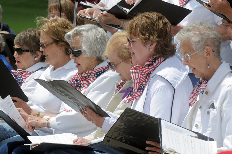 The Broomfield Civic Chorus sings patriotic songs during the Broomfield Veterans Memorial Museum Memorial Day Picnic at the Broomfield County Commons Park on Monday.<br /> May 30, 2011<br /> staff photo/David R. Jennings