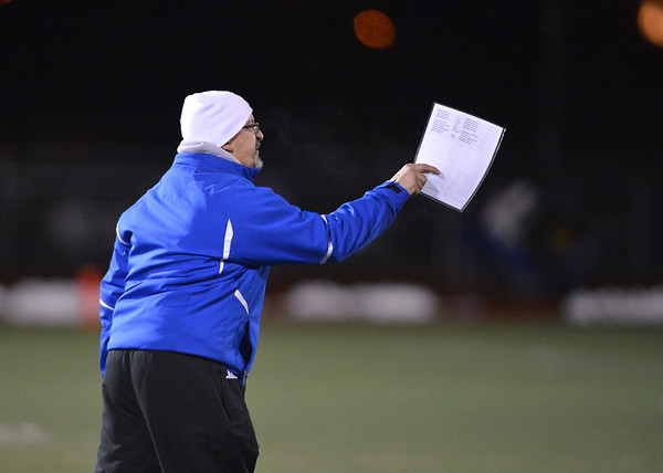 Broomfield's  coach Gary Davies calls plays against Monarch during Friday's game at Elizabeth Kennedy Stadium.<br /> October 25, 2012<br /> staff photo/ David R. Jennings