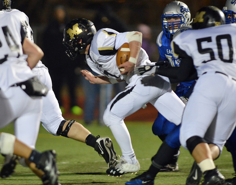 Monarch's Ethan Marks runs the ball against Broomfield during Friday's game at Elizabeth Kennedy Stadium.<br /> October 25, 2012<br /> staff photo/ David R. Jennings