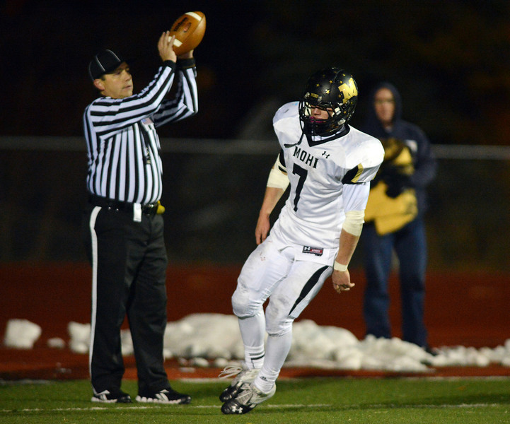 Monarch's Ethan Marks in the end zone for a touchdown against Broomfield during Friday's game at Elizabeth Kennedy Stadium.<br /> October 25, 2012<br /> staff photo/ David R. Jennings