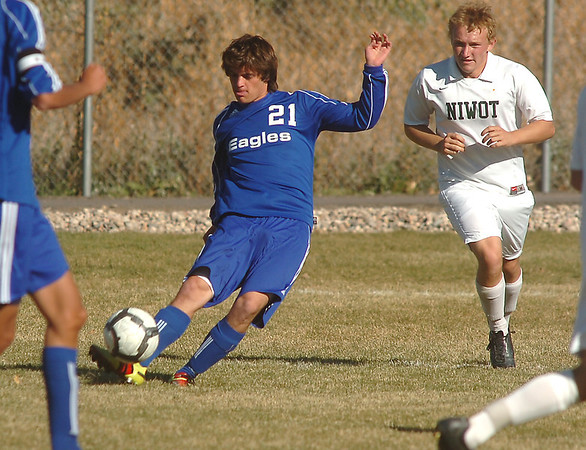 Fernando Cabrera, Broomfield kicks the ball against Niwot during  Thursday's game at Niwot.<br /> October 20, 2011<br /> staff photo/ David R. Jennings