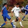 Colton Lamb, Broomfield dribbles the ball downfield against Aldair Cintora, Niwot during  Thursday's game at Niwot.<br /> October 20, 2011<br /> staff photo/ David R. Jennings