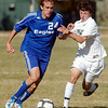 Clay Fiscus,  Broomfield fights for control of the ball with Aldair Cintora, Niwot during  Thursday's game at Niwot.<br /> October 20, 2011<br /> staff photo/ David R. Jennings