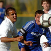 Nick Saunders, Broomfield, fights for control of the ball against Jesus Olivas,  Niwot during  Thursday's game at Niwot.<br /> October 20, 2011<br /> staff photo/ David R. Jennings