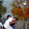 Jesus Olivas, Niwot, does a header against Broomfield during  Thursday's game at Niwot.<br /> October 20, 2011<br /> staff photo/ David R. Jennings