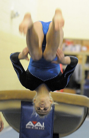 Broomfield's Melanie Stelling performs on the vault during competition at the Paul Derda Recreation Center in Broomfield on Tuesday.<br /> September 13, 2011<br /> staff photo/ David R. Jennings