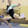 Niwot's Ariel Mosier performs on the beam during competition at the Paul Derda Recreation Center in Broomfield on Tuesday.<br /> September 13, 2011<br /> staff photo/ David R. Jennings
