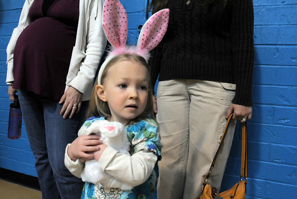 Sally Odorizzi, 3, wore her bunny ears for the preschool Easter Party at the Broomfield Community Center on Thursday.<br /> <br /> April 21, 2011<br /> staff photo/David R. Jennings