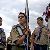 Nick Porter, 11, left, Tomas Cabera, 13, and Blaine Lee, 14, Boy Scouts from Troop 767, wait to present the colors for Friday's 10th Relay for Life Broomfield fundraiser for the American Cancer Society at the Broomfield County Commons.<br /> <br /> <br /> June11, 2010<br /> Staff photo/David R. Jennings