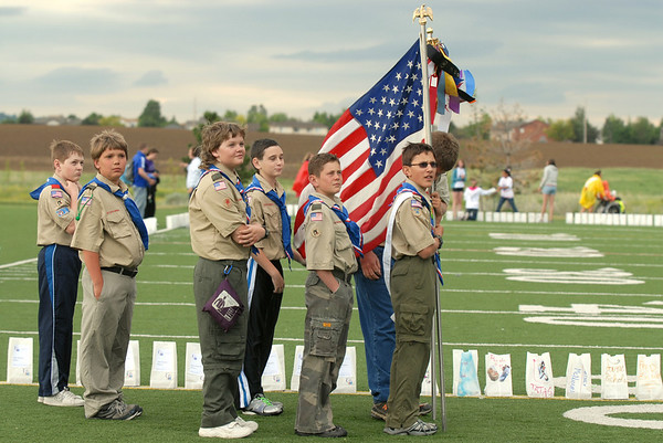 Boy Scouts from Troop 767 wait to present the colors for Friday's 10th Relay for Life Broomfield fundraiser for the American Cancer Society at the Broomfield County Commons.<br /> <br /> <br /> June11, 2010<br /> Staff photo/David R. Jennings