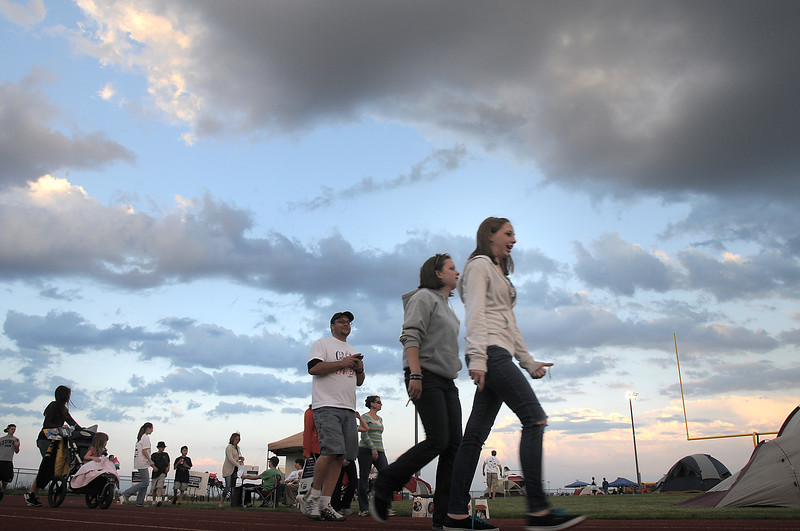 Participants walk around the track during the Broomfield Relay for Life at Holy Family High School on Saturday.<br /> June 10, 2011<br /> staff photo/David R. Jennings