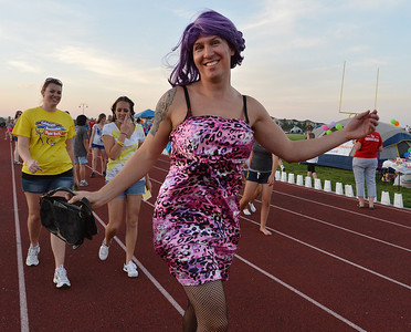 Brent Buck dressed in drag won the Mr. Relay contest during Friday's Broomfield Relay For Life at Holy Family High School. June 8, 2012  staff photo/ David R. Jennings