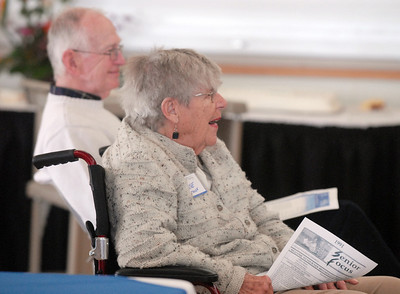 Anne and Pete Crouse listen to the remenising during the 20th anniversary celebration of the Broomfield Senior Center on Sunday. March 20, 2011  staff photo/David R. Jennings
