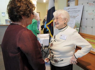 Olivia Stoner, left, chats with Wilma Huckins, 98, during the 20th anniversary celebration of the Broomfield Senior Center on Sunday. March 20, 2011  staff photo/David R. Jennings