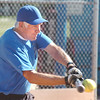 John Clymer, Broomfield Dairy Queen, hits the ball during Wednesday's  senior softball game against the Prime Time at Community Park fields.<br /> <br /> August 3, 2011<br /> staff photo/ David R. Jennings