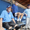 John Clymer, left, Bob Hugenard and Jim Tolly watch their Broomfield Dairy Queen teammates hit against the Prime Time team during Wednesday's senior softball game at Community Park.<br /> <br /> August 3, 2011<br /> staff photo/ David R. Jennings