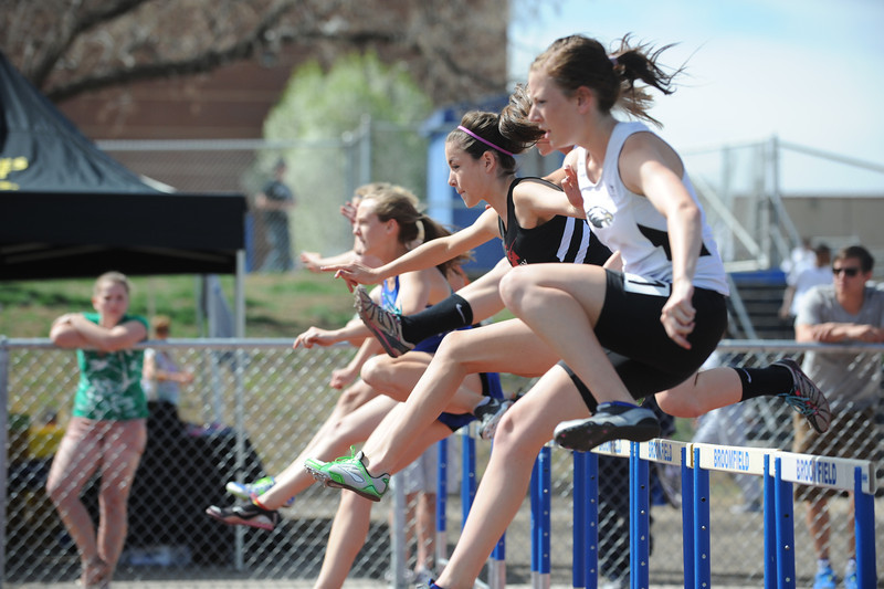 Fairview's Natalie Bowes running in the 100m hurdles during the Broomfield Shoot Out Track Meet on Friday at Elizabeth Kennedy Stadium in Broomfield.<br /> March 30, 2012 <br /> staff photo/ David R. Jennings