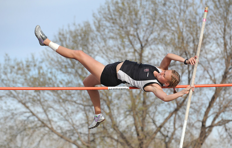 Silver Creek's Jade Van Dersteen pole vaults at the 8 foot height during the Broomfield Shoot Out Track Meet on Friday at Elizabeth Kennedy Stadium in Broomfield.<br /> March 30, 2012 <br /> staff photo/ David R. Jennings