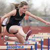 Boulder's Grace Green clears a hurdle in the 300m hurdles  during the Broomfield Shoot Out Track Meet on Friday at Elizabeth Kennedy Stadium in Broomfield.<br /> March 30, 2012 <br /> staff photo/ David R. Jennings