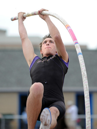 Boulder's Mack Felkley goes for 12 feet in the pole vault during the Broomfield Shoot Out Track Meet on Friday at Elizabeth Kennedy Stadium in Broomfield.<br /> March 30, 2012 <br /> staff photo/ David R. Jennings