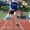 Lyon's Shannon Gilman in the triple jump during the Broomfield Shoot Out Track Meet on Friday at Elizabeth Kennedy Stadium in Broomfield.<br /> March 30, 2012 <br /> staff photo/ David R. Jennings