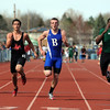 Broomfield's Harrison Einspar wins the 100m dash during the Broomfield Shoot Out Track Meet on Friday at Elizabeth Kennedy Stadium in Broomfield.<br /> March 30, 2012 <br /> staff photo/ David R. Jennings