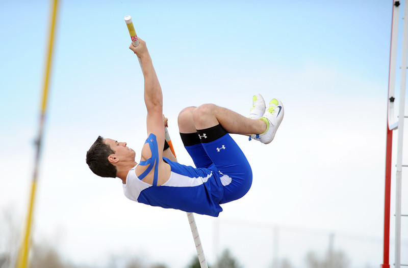Broomfield's Issac Wilson shoots for 13 foot 6 inches in the pole vault during the Broomfield Shoot Out Track Meet on Friday at Elizabeth Kennedy Stadium in Broomfield.<br /> March 30, 2012 <br /> staff photo/ David R. Jennings