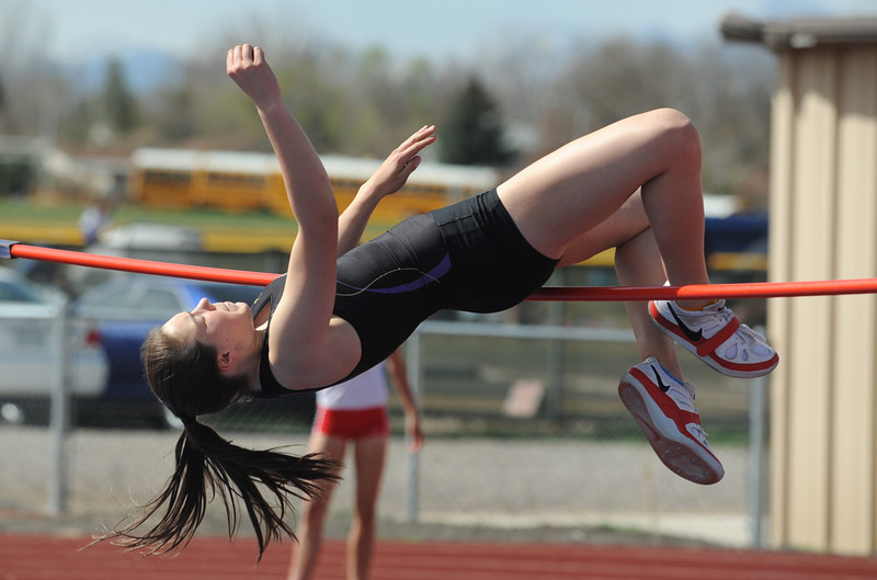 Boulder's Hailey Hampson goes for 4 foot 10 inch height in the high jump during the Broomfield Shoot Out Track Meet on Friday at Elizabeth Kennedy Stadium in Broomfield.<br /> March 30, 2012 <br /> staff photo/ David R. Jennings