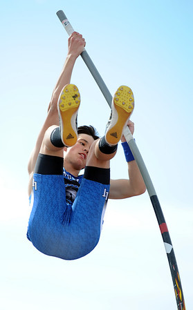 Longmont's Steven Wacker clears 14 feet in the pole vault during the Broomfield Shoot Out Track Meet on Friday at Elizabeth Kennedy Stadium in Broomfield.<br /> March 30, 2012 <br /> staff photo/ David R. Jennings