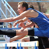 Longmont's Landon Stetson running in the 110 m hurdles during the Broomfield Shoot Out Track Meet on Friday at Elizabeth Kennedy Stadium in Broomfield.<br /> March 30, 2012 <br /> staff photo/ David R. Jennings