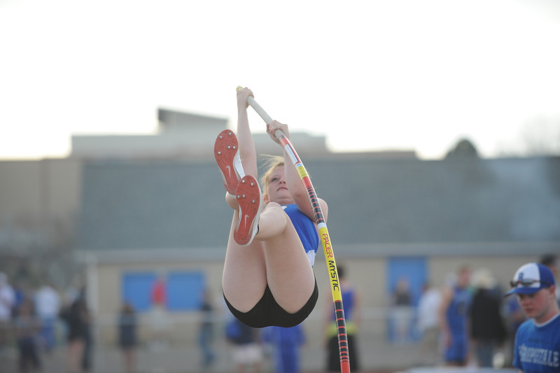 Broomfield's Emma Jacobs goes for the 9 foot 6 inch height in the pole vault during the Broomfield Shoot Out Track Meet on Friday at Elizabeth Kennedy Stadium in Broomfield.<br /> March 30, 2012 <br /> staff photo/ David R. Jennings