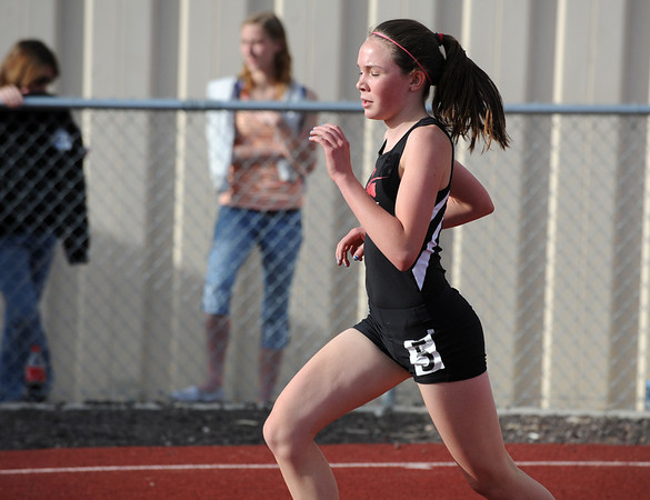 Fairview's Kelly Gilbert runs in the 400 m dash during the Broomfield Shoot Out Track Meet on Friday at Elizabeth Kennedy Stadium in Broomfield.<br /> March 30, 2012 <br /> staff photo/ David R. Jennings