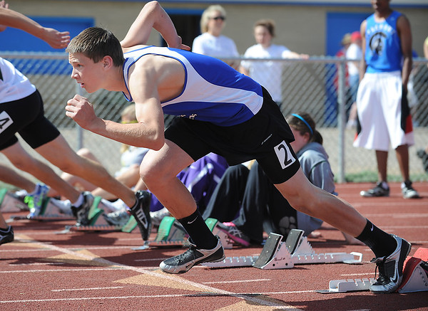 Lyon's Zac Christiansen launches off the blocks for the 110 m hurdles during the Broomfield Shoot Out Track Meet on Friday at Elizabeth Kennedy Stadium in Broomfield.<br /> March 30, 2012 <br /> staff photo/ David R. Jennings