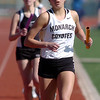 Monarch's Rebecca Richmond running the final leg to win the 3200m relay during the Broomfield track meet at Elizabeth Kennedy Stadium on Saturday.<br /> April 3, 2010<br /> Staff photo/David R. Jennings